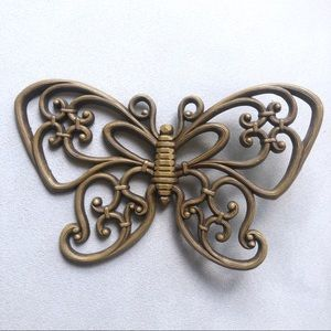 Vintage Butterfly Wall Hanging Carved Wood Look